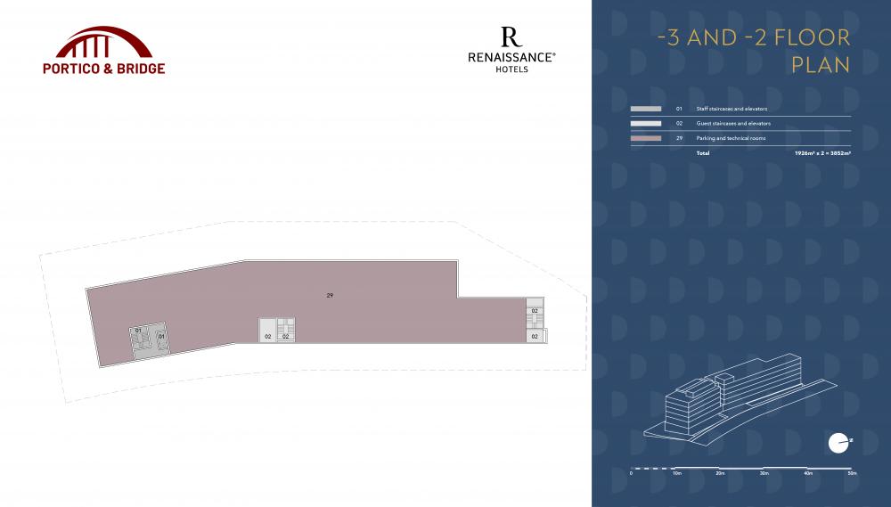 Portico and Bridge - Golden Visa - Marriott -3 and -2 floor plan
